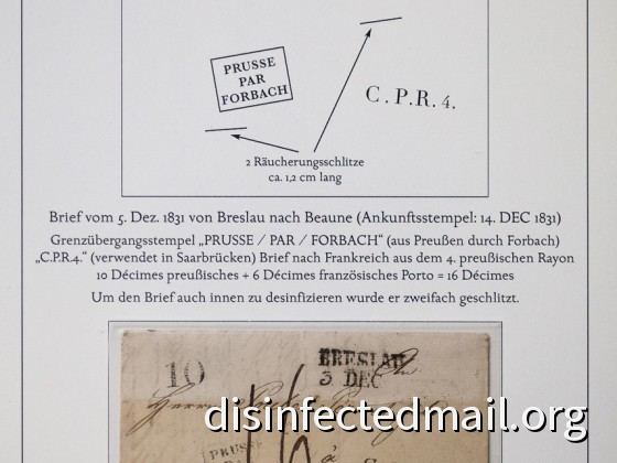 Prussia (Breslau) - France (Beaune), disinfected in France