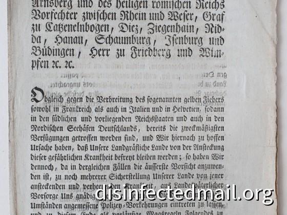 1804 Hessische Verordnung (page 1) – Yellow fever