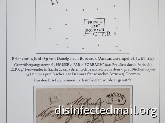 Prussia (Danzig) - France (Bordeaux), disinfected in Prussia