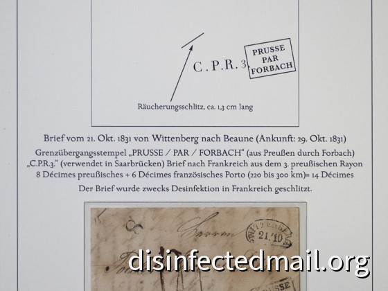 Prussia (Wittenberg) - France (Beaune), disinfected in France